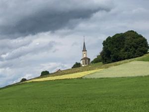 avec à droite le clocher de Massonnens,